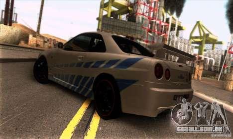 Nissan Skyline R34 GT-R Tunable para GTA San Andreas vista direita