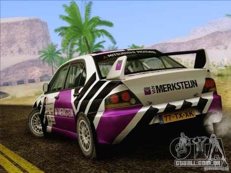 Mitsubishi Lancer Evolution IX Rally para GTA San Andreas vista inferior