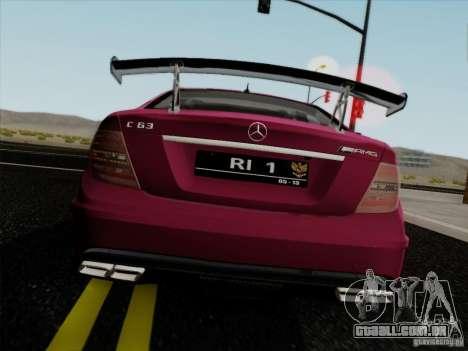 Mercedes Benz C63 AMG Coupe Presiden Indonesia para GTA San Andreas traseira esquerda vista