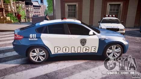 BMW X6M Police para GTA 4 vista lateral