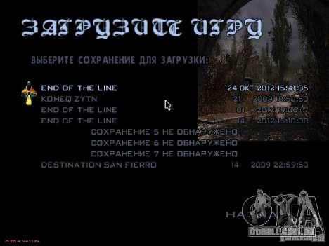 Menu principal-estilo Stalker para GTA San Andreas quinto tela