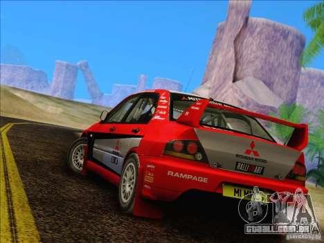 Mitsubishi Lancer Evolution IX Rally para GTA San Andreas vista direita