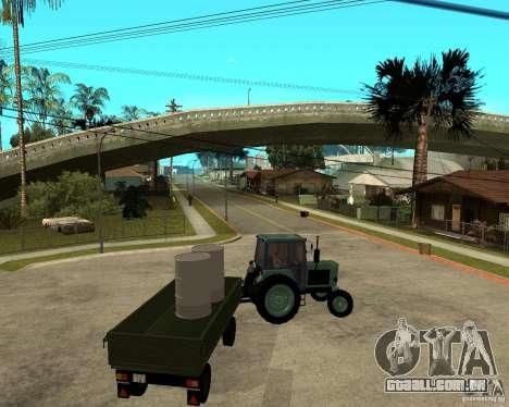 Tractor Belarus 80,1 e reboque para GTA San Andreas vista inferior