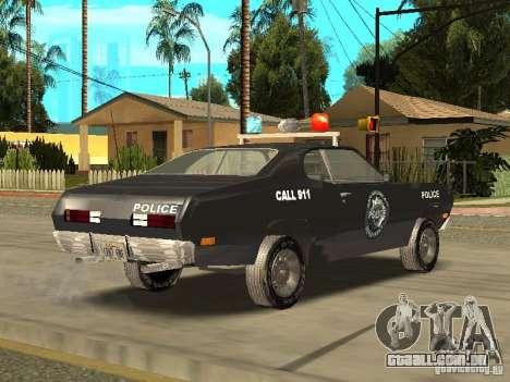 Plymout Duster 340 POLICE v2 para GTA San Andreas traseira esquerda vista