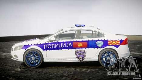 Volvo S60 Macedonian Police [ELS] para GTA 4 esquerda vista