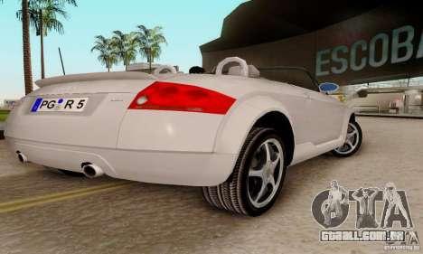 Audi TT Roadster para GTA San Andreas traseira esquerda vista