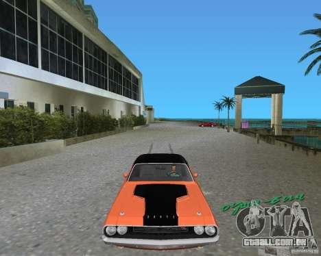 1970 Dodge Challenger R/T Hemi para GTA Vice City deixou vista
