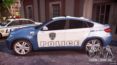 BMW X6M Police para GTA 4 esquerda vista