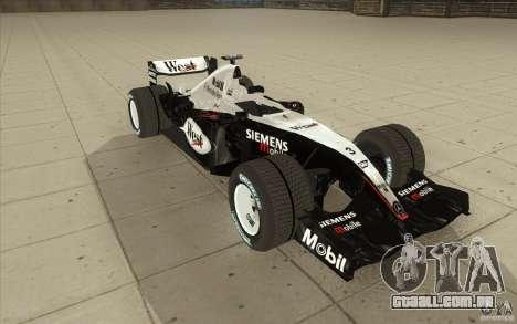 McLaren Mercedes MP 4-19 para GTA San Andreas vista traseira