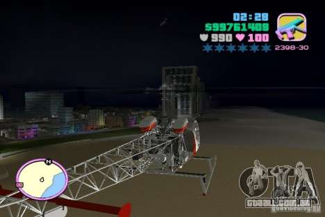 Bell 47 para GTA Vice City vista traseira esquerda