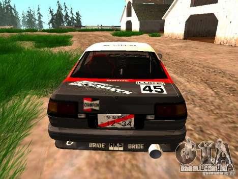 Toyota AE86 Coupe para GTA San Andreas vista direita