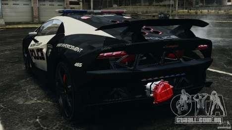 Lamborghini Sesto Elemento 2011 Police v1.0 ELS para GTA 4 traseira esquerda vista