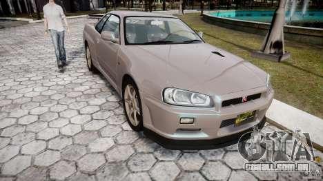 Nissan Skyline GT-R R34 2002 v1 para GTA 4 vista de volta