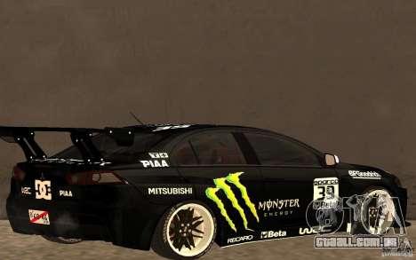 Mitsubishi Lancer Evolution X Monster Energy para GTA San Andreas traseira esquerda vista