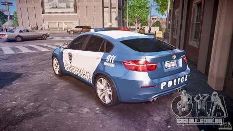 BMW X6M Police para GTA 4 traseira esquerda vista