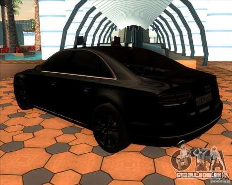 Audi A8 2010 v2.0 para GTA San Andreas traseira esquerda vista