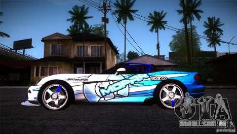 Dodge Viper Mopar Drift para GTA San Andreas esquerda vista
