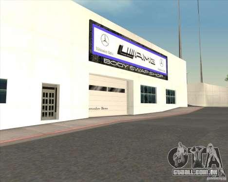 AMG showroom para GTA San Andreas por diante tela