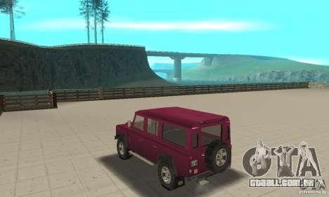 Land Rover Defender 110SW para GTA San Andreas traseira esquerda vista