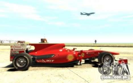 2010 Scuderia Ferrari F10 para GTA 4 vista de volta