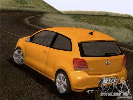 Volkswagen Polo GTI 2011 para GTA San Andreas vista inferior