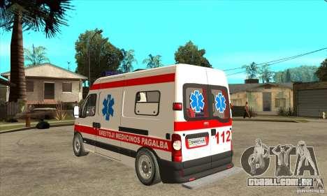 Renault Master Ambulance para GTA San Andreas traseira esquerda vista