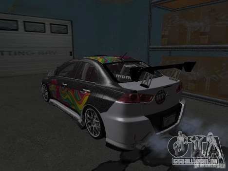Mitsubishi Evolution X Stock-Tunable para GTA San Andreas vista traseira