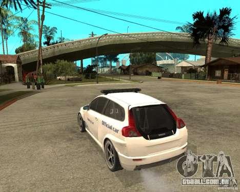 VOLVO C30 SAFETY CAR STCC v2.0 para GTA San Andreas esquerda vista