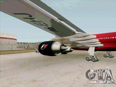 Airbus A-340-600 Formula 1 para GTA San Andreas vista traseira