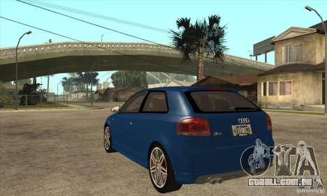 Audi S3 2007 - Stock para GTA San Andreas traseira esquerda vista