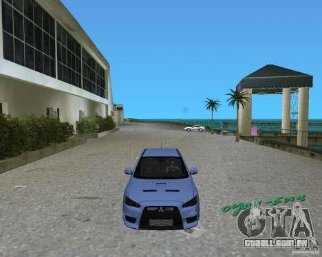 Mitsubishi Lancer Evo X para GTA Vice City deixou vista