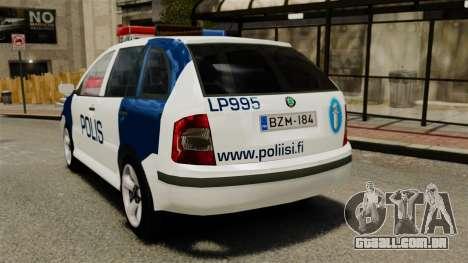 Skoda Fabia Combi Finnish Police ELS para GTA 4 traseira esquerda vista