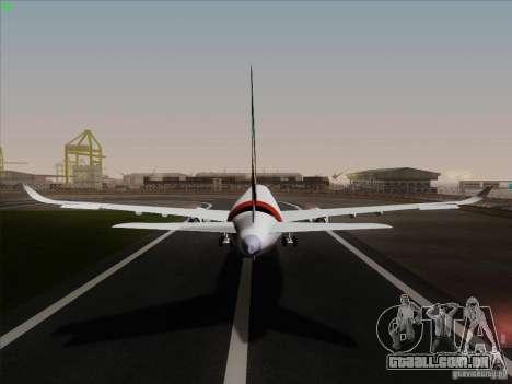 Airbus A350-900 Emirates para GTA San Andreas vista interior