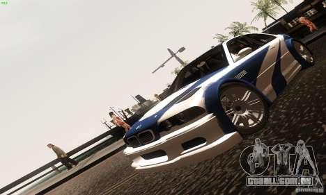 BMW M3 GTR para GTA San Andreas vista traseira