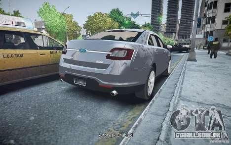Ford Taurus SHO 2010 para GTA 4 traseira esquerda vista