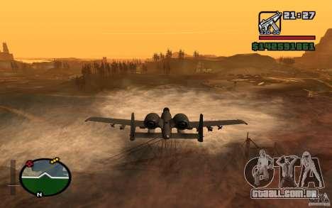 Thunderbold A-10 para GTA San Andreas traseira esquerda vista