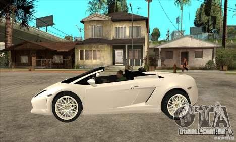 Lamborghini Gallardo Spyder v2 para GTA San Andreas esquerda vista