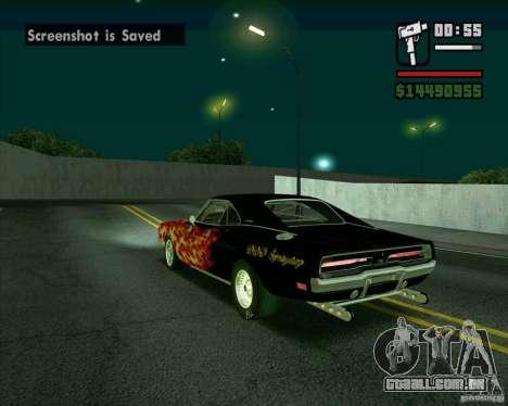 Dodge Charger R/T 69 para GTA San Andreas traseira esquerda vista