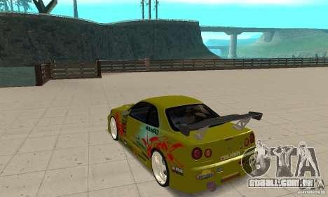 Nissan Skyline R34 GTR para GTA San Andreas traseira esquerda vista