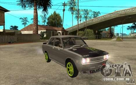 Datsun 510 Drift para GTA San Andreas vista traseira