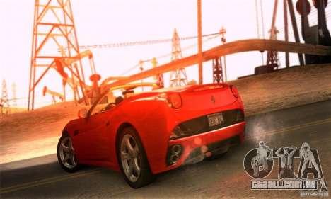 Ferrari California V3 para GTA San Andreas traseira esquerda vista