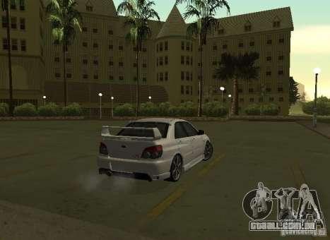 Subaru Impreza WRX STI-Street Racing para GTA San Andreas vista superior