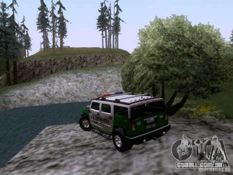 Hummer H2 Polizei para GTA San Andreas traseira esquerda vista