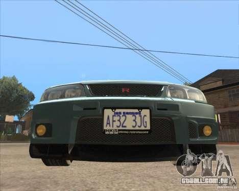 Nissan Skyline GT-R BNR33 para GTA San Andreas esquerda vista