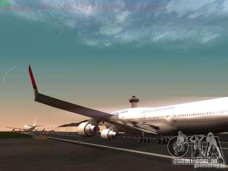 Boeing 747-446 Japan-Airlines para GTA San Andreas vista interior