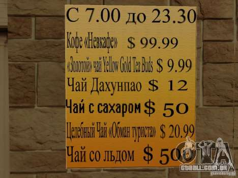 Nova Burgershot: ČajničeG de ouro para GTA San Andreas por diante tela