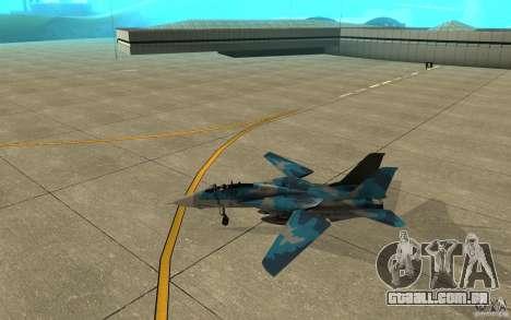 F-14 Tomcat Blue Camo Skin para GTA San Andreas traseira esquerda vista