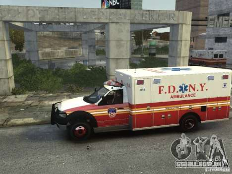 Ford F-350 Ambulance FDNY para GTA 4 esquerda vista