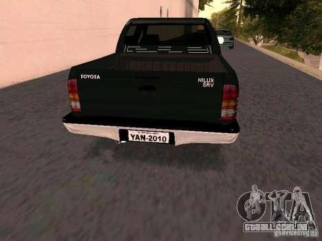 Toyota Hilux SRV 3.0 4X4 Automatica para GTA San Andreas traseira esquerda vista