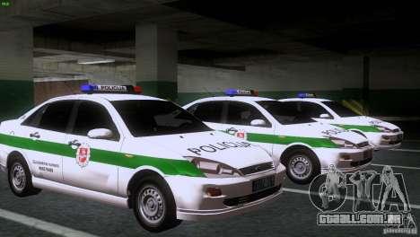 Ford Focus Policija para GTA San Andreas vista traseira